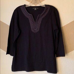 Croft and Barrow black shirt sz PM 3/4 sleeve